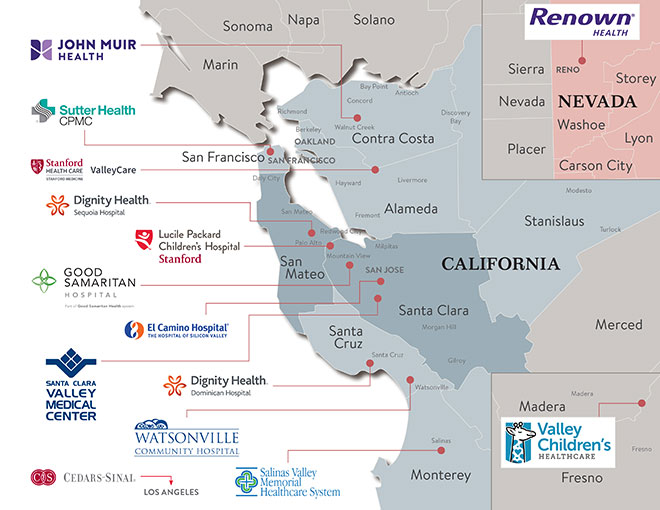 Stanford Children's Health hospital partnerships and joint ventures map