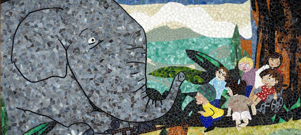 Jonathan Brown mosaics at Lucile Packard Children's Hospital Stanford in Palo Alto