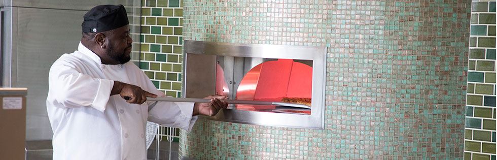 Pizza oven in the Harvest Cafe at Lucile Packard Children's Hospital Stanford Cafeteria