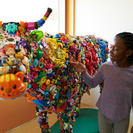 cow made from toys at Lucile Packard Children's Hospital Stanford