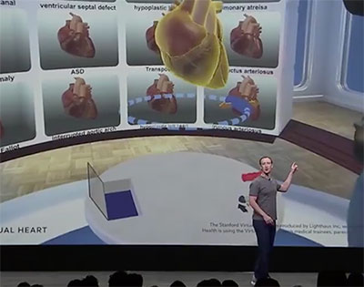 Mark Zuckerberg, Facebook CEO, talked Stanford Virtual Heart at Oculus 4 keynote