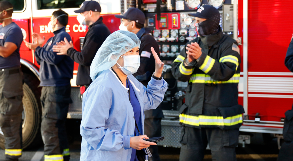 First responders pay tribute to health care workers during COVID-19 pandemic at Lucile Packard Children's Hospital Stanford in Palo Alto