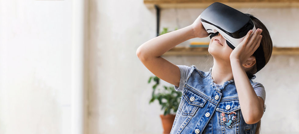 Young girl wearing an augmented reality headset