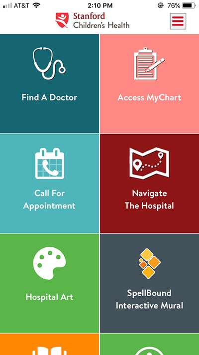 Stanford Children's Health Mobile App screen shot