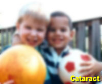 Simulation photograph: cataract