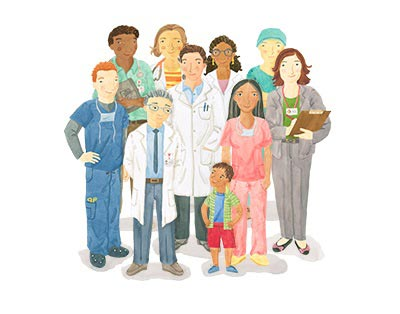 Stanford Children's Health Brain and Behavior illustration, featuring doctors, nurses and clinicians