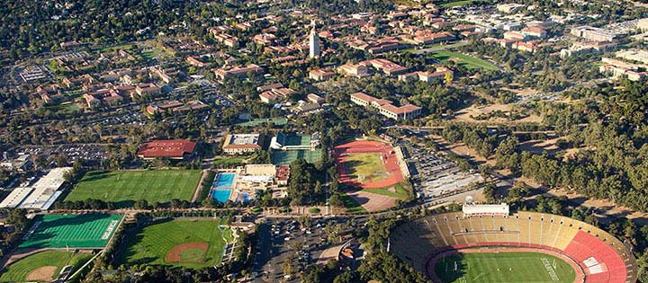 Stanford and Palo Alto aerial shot