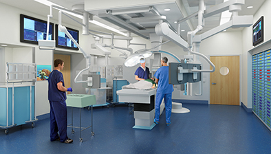 Lucile Packard Children's Hospital Stanford expansion rendering of the operating room