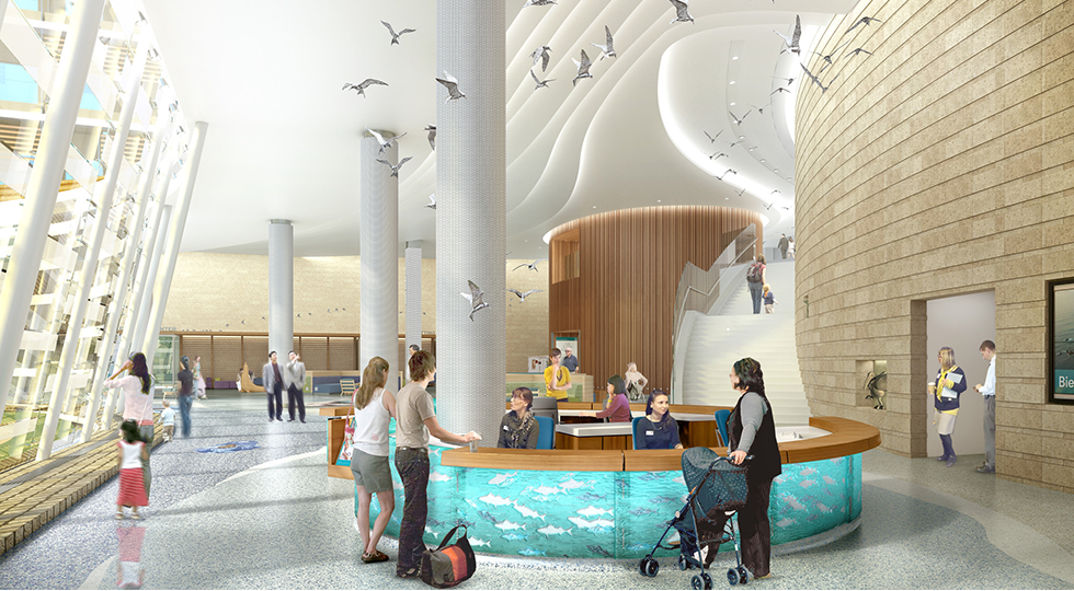A rendering of the future Lucile Packard Children's Hospital Stanford lobby