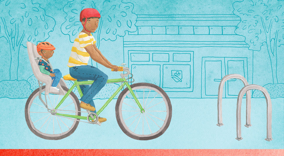 Illustration of a man and a boy on bike