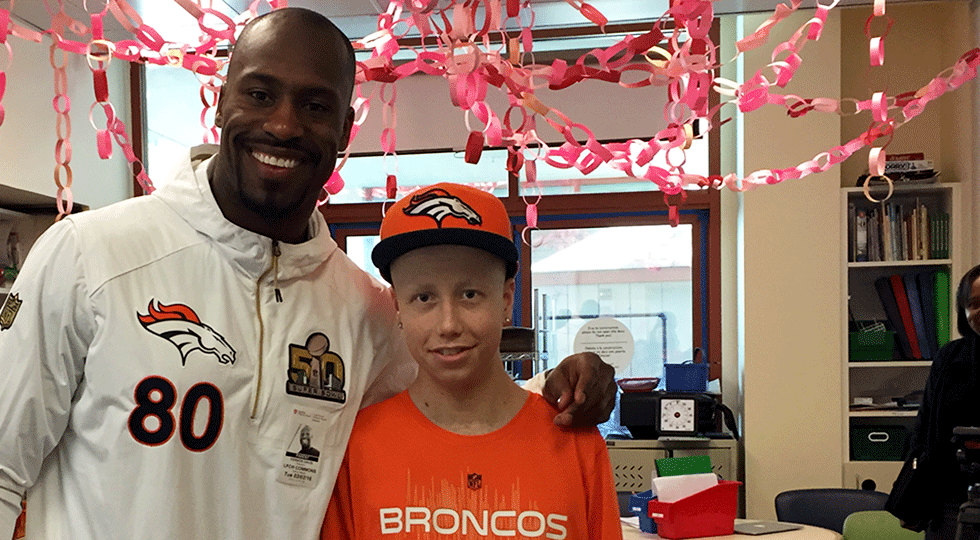 Vernon Davis and Alex at Lucile Packard Chlldren's Hospital Stanford
