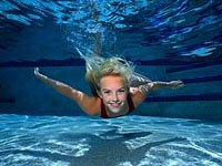 Picture of a young girl, swimming